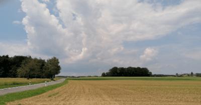 man sieht gemähte Felder, eine Strasse, einige Bäume und ein aufziehendes Gewitter am Himmel.