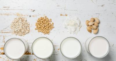 Man sieht Gläser mit Getreidemilch. Vor einem Glas sind Haferflocken, vor dem nächsten Kichererbsen, vor dem nächsten Kokosflocken, vor dem letzten Mandeln. Alles ist auf einem weissen Hintergrund. Sind Milchprodukte gesund?