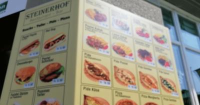 Man sieht eine Speisekarte des Restaurant Steinerhof.