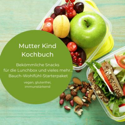 Man sieht eine Lunchbox und einen Kreis mit den wichtigsten Inhalten zum Bauch-Wohlfühl-Starterpaket. Welches im Juli 2021 fertig geworden ist. Monatsrückblick Juli 2021.