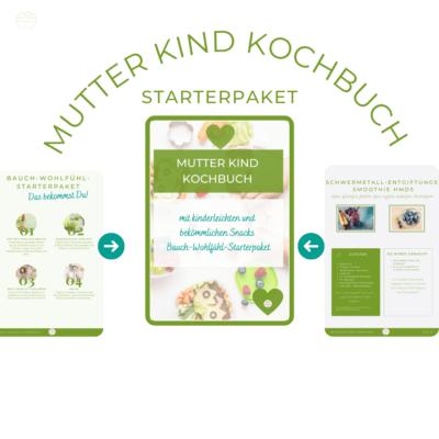 Man sieht ein Mockup für das Mutter Kind Kochbuch Starterpaket. 3 Seiten aus dem Workbook sind zu sehen. Das Mockup ist im Juli 2021 entstanden.