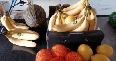 Man sieht eine grüne Melone, viele Bananen in einer Kartonkiste, 4 Orangen im Netz und 3 Zitronen in der Küche von Jeannine.
